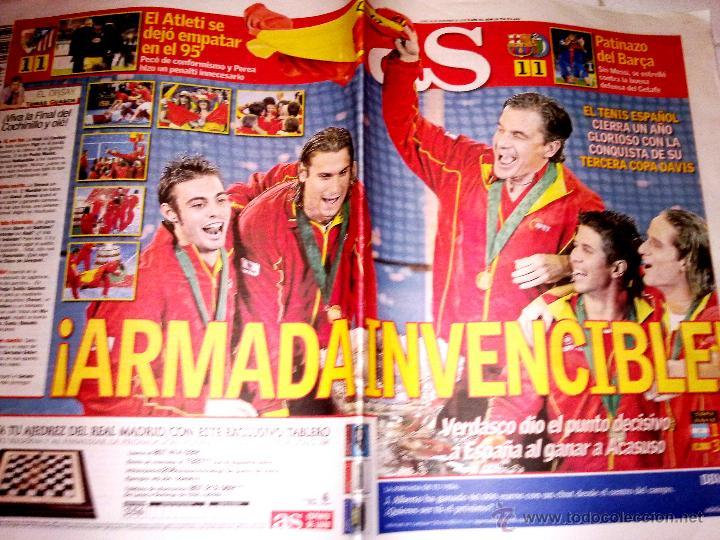 PERIODICO AS TENIS ESPAÑA CAMPEONA 3 COPA DAVIS - 2008 (Coleccionismo Deportivo - Revistas y Periódicos - As)