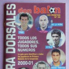 Coleccionismo deportivo: EXTRA DORSALES DON BALON PRIMERA DIVISION 2000/2001 - ESPECIAL BOLSILLO LIGA 00/01 FUTBOL. Lote 44342385