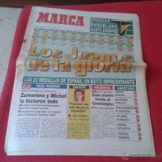 Coleccionismo deportivo: PERIODICO DIARIO MARCA CLAUSURA JUEGOS OLIMPICOS BARCELONA 92 MEDALLAS CRUYFF REAL MADRID 10 AGOSTO. Lote 45657461