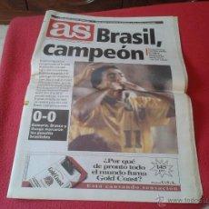 Coleccionismo deportivo: PERIODICO DIARIO AS FINAL MUNDIAL DE FUTBOL ESTADOS UNIDOS USA EEUU 94 BRASIL CAMPEON 18 JULIO 1994. Lote 45658002