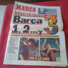 Coleccionismo deportivo: PERIODICO DIARIO MARCA 21 JUNIO 1993 REAL MADRID PIERDE LA LIGA EN TENERIFE BARCELONA BARSA CAMPEON. Lote 97035375