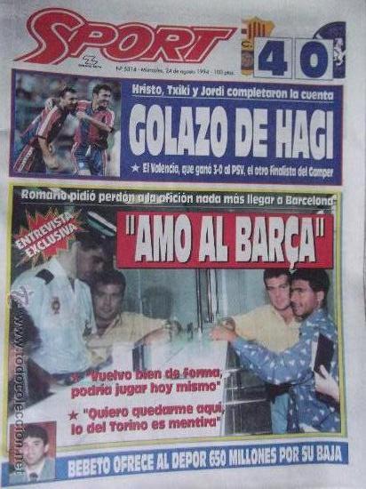 SPORT-Nº5314-AG 94-COMP 64 PAG-HAGI-ROMARIO-CRUYFF-BEBETO-MARADONA-POSTER,BARSA 93-94- (Coleccionismo Deportivo - Revistas y Periódicos - Sport)