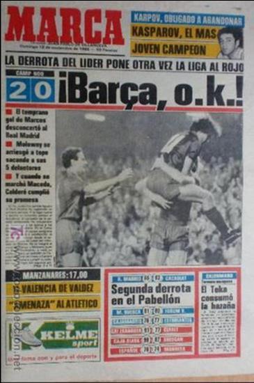 MARCA-1985-Nº13635-BARSA O.K.-AZCARGORTA-CLEMENTE-PAQUITO-GARCIA TRAID-LUIS COSTA-NOVOA-ZABALZA (Coleccionismo Deportivo - Revistas y Periódicos - Marca)