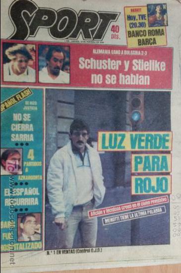 SPORT-Nº1526-1984-LUZ VERDE PARA ROJO-SCHUSTER-STIELIKE-MACEDA-AZKARGORTA-JUANITO (Coleccionismo Deportivo - Revistas y Periódicos - Sport)