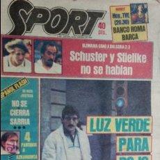 Coleccionismo deportivo: SPORT-Nº1526-1984-LUZ VERDE PARA ROJO-SCHUSTER-STIELIKE-MACEDA-AZKARGORTA-JUANITO. Lote 21071291