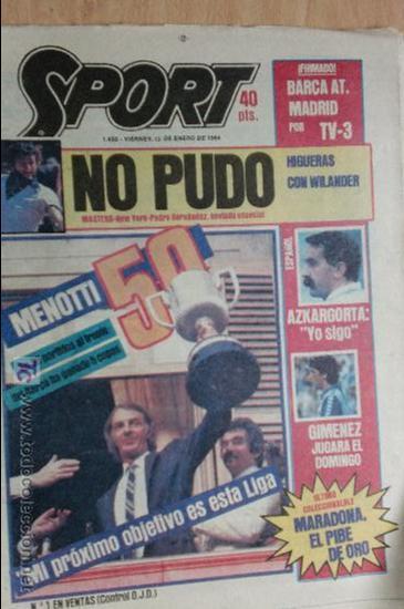 SPORT-Nº1492-1984-48 PAGINAS-MENOTTI- MARADONA-AZCKARGORTA-GIMENEZ (Coleccionismo Deportivo - Revistas y Periódicos - Sport)