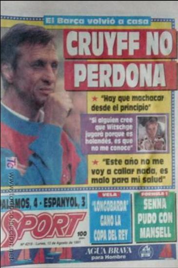 SPORT-1991-Nº4219-CRUYFF NO PERDONA-CONT.BARSA 91-92 (Coleccionismo Deportivo - Revistas y Periódicos - Sport)