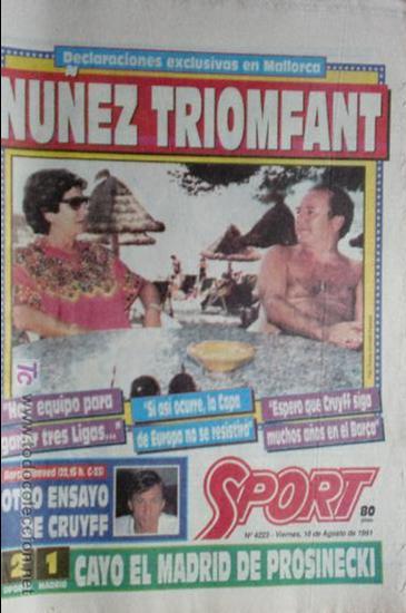 SPORT-1991-Nº4223-NUÑEZ TRIOMFANT (Coleccionismo Deportivo - Revistas y Periódicos - Sport)