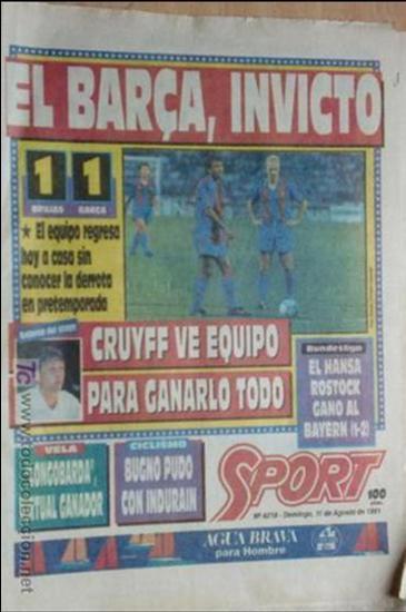 SPORT-1991-Nº4218-EL BARSA INVICTO- (Coleccionismo Deportivo - Revistas y Periódicos - Sport)