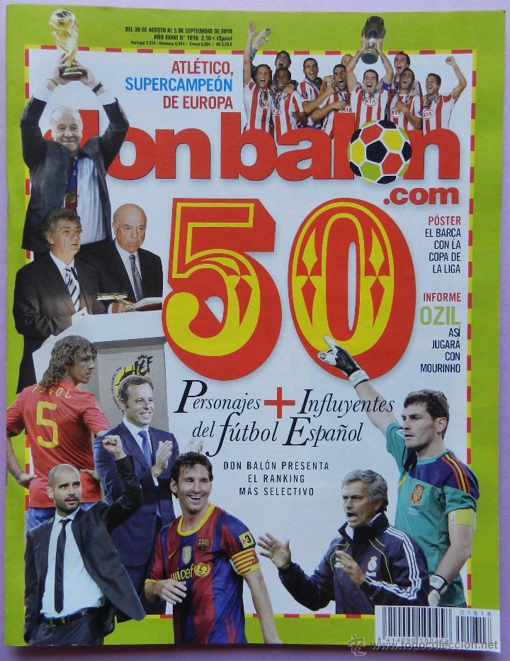 DON BALON Nº 1818 ATLETICO MADRID CAMPEON SUPERCOPA EUROPA 2010-POSTER FC BARCELONA LIGA 09/10 (Coleccionismo Deportivo - Revistas y Periódicos - Don Balón)