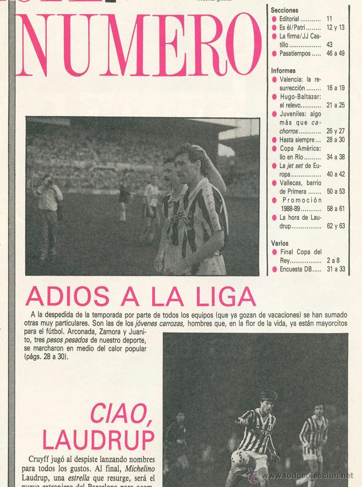 Coleccionismo deportivo: REVISTA DON BALÓN - Nº 716 - 1989 MADRID CAMPEÓN COPA, PATRI, VALENCIA, COPA AMÉRICA, RAYO, LAUDRUP - Foto 2 - 46798546