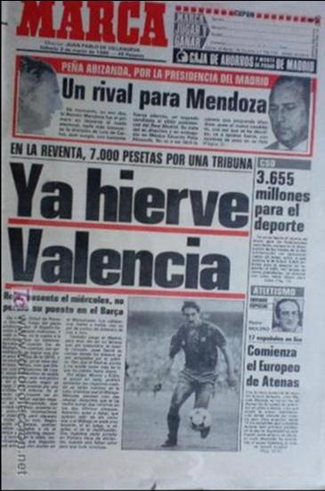 MARCA-1985-Nº13419-YA HIERVE VALENCIA-CHECHU ROJO-AMORRORTU-CHURRUCA-MIGUEL ANGEL-OCHOTORENA-CALDERE (Coleccionismo Deportivo - Revistas y Periódicos - Marca)