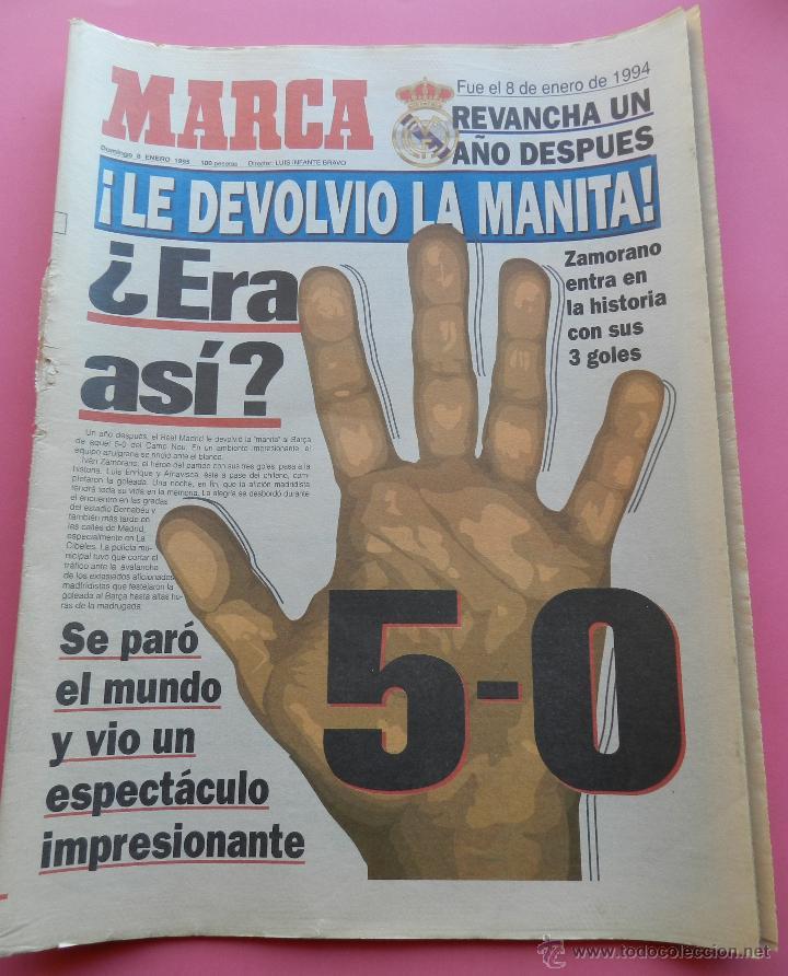 DIARIO MARCA REAL MADRID MANITA AL FC BARCELONA 5-0 1994/1995 GOLEADA LIGA TEMPORADA 94/95 BERNABEU (Coleccionismo Deportivo - Revistas y Periódicos - Marca)