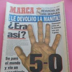 Coleccionismo deportivo: DIARIO MARCA REAL MADRID MANITA AL FC BARCELONA 5-0 1994/1995 GOLEADA LIGA TEMPORADA 94/95 BERNABEU. Lote 46915895
