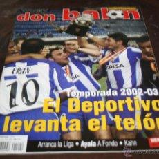 Coleccionismo deportivo: REVISTA FÚTBOL DON BALÓN Nº 1402 DEPORTIVO CAMPEÓN SUPERCOPA ESPAÑA 2002. Lote 145431596