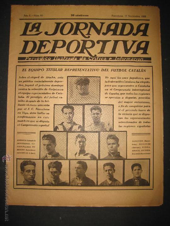 EQUIPO TITULAR DEL FUTBOL CATALAN- ALCANTARA , SAMI - JORNADA DEPORTIVA NUM. 80-NOV. 1922-(CD-1369) (Coleccionismo Deportivo - Revistas y Periódicos - La Jornada Deportiva)