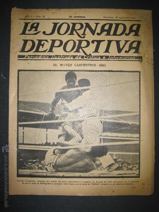 BOXEO -MATCH CARPENTIER - SIKI - JORNADA DEPORTIVA NUM. 65- SEP . 1922-(CD-1370) (Coleccionismo Deportivo - Revistas y Periódicos - La Jornada Deportiva)