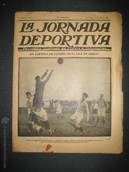 PARTIDO FUTBOL LIGA BERLIN - JORNADA DEPORTIVA NUM. 87- DICIEMBRE . 1922-(CD-1371) (Coleccionismo Deportivo - Revistas y Periódicos - La Jornada Deportiva)