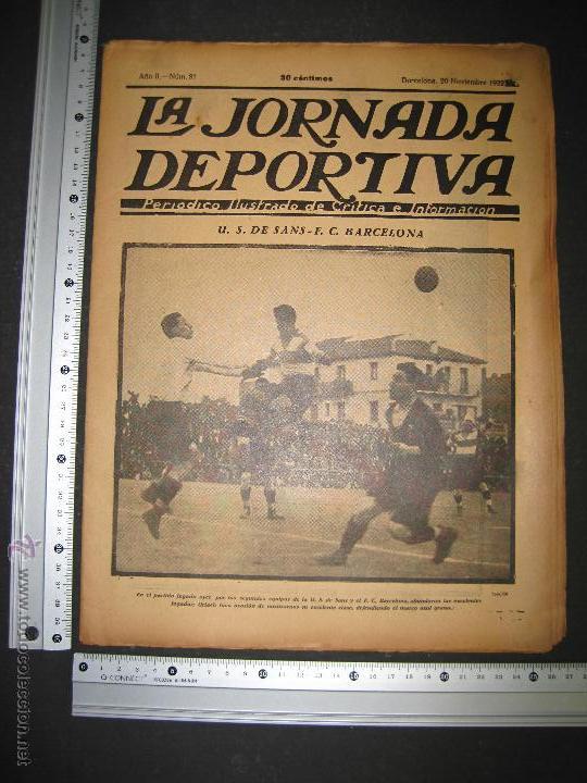 Coleccionismo deportivo: PARTIDO FUTBOL U.S. SANS -F.C. BARCELONA - JORNADA DEPORTIVA NUM. 81- NOVIEMBRE 1922-(CD-1372) - Foto 9 - 47437642