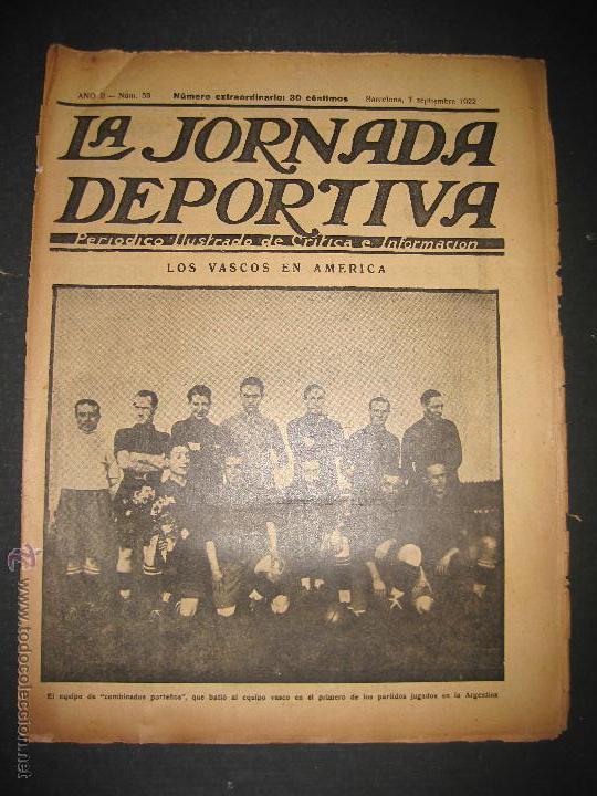 EQUIPO VASCO EN AMERICA - JORNADA DEPORTIVA NUM.59 - SEPTIEMBRE 1922-(CD-1377) (Coleccionismo Deportivo - Revistas y Periódicos - La Jornada Deportiva)