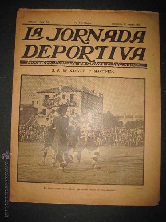 FUTBOL U.S. SANS , F.C. MARTINENC -JORNADA DEPORTIVA NUM.54 - AGOSTO 1922-(CD-1385) (Coleccionismo Deportivo - Revistas y Periódicos - La Jornada Deportiva)