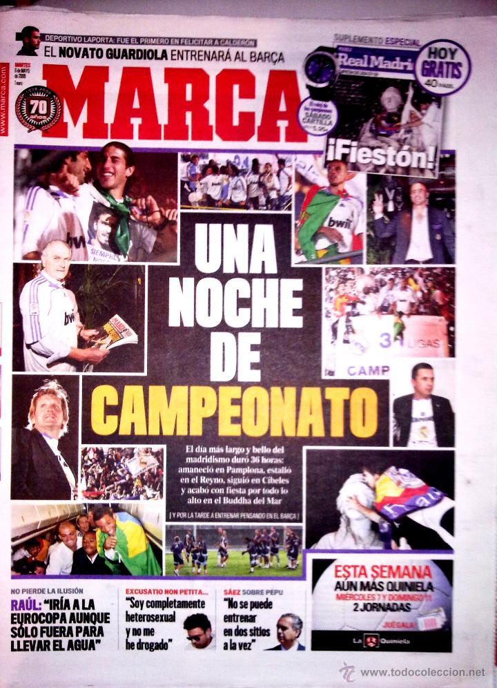 DIARIO MARCA REAL MADRID CELEBRACION LIGA 2008 (Coleccionismo Deportivo - Revistas y Periódicos - Marca)