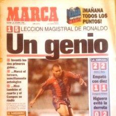 Coleccionismo deportivo: MARCA. 1996. LECCIÓN MAGISTRAL DE RONALDO. UN GENIO.. Lote 47948386