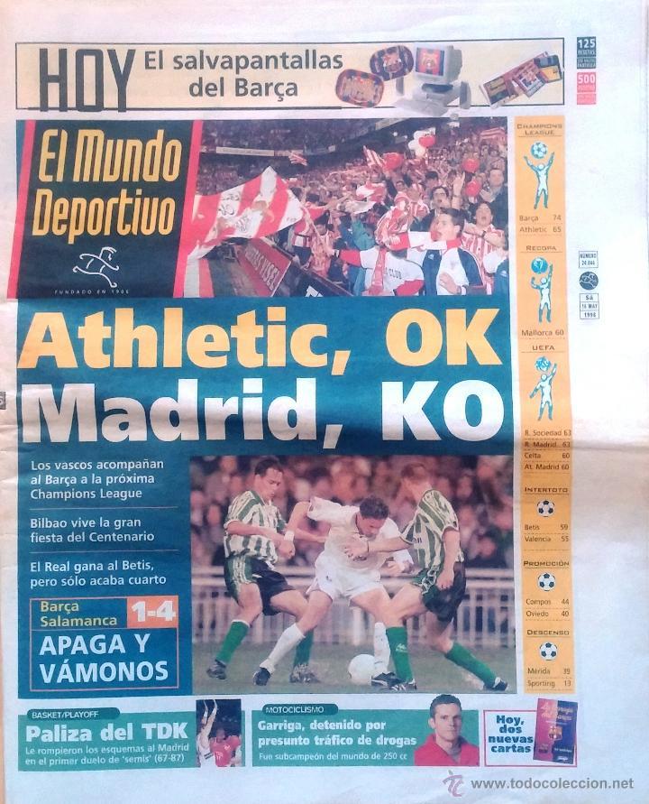 MUNDO DEPORTIVO. 1998. ATHLETIC, OK. MADRID, KO (Coleccionismo Deportivo - Revistas y Periódicos - Mundo Deportivo)