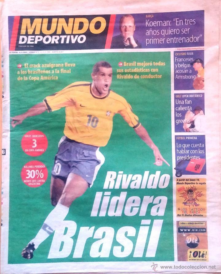 MUNDO DEPORTIVO. 1999. RIVALDO LIDERA BRASIL. (Coleccionismo Deportivo - Revistas y Periódicos - Mundo Deportivo)