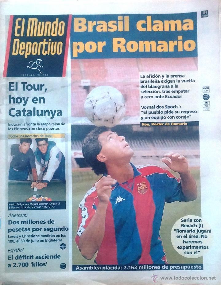 MUNDO DEPORTIVO. 1993. BRASIL CLAMA POR ROMARIO (Coleccionismo Deportivo - Revistas y Periódicos - Mundo Deportivo)