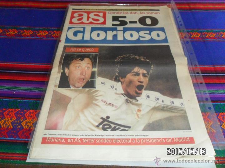 AS Nº 8790. 8-1-95. REAL MADRID 5 BARCELONA 0, MANITA AL BARÇA. ZAMORANO CRUYFF. BUEN ESTADO. MÍTICO (Coleccionismo Deportivo - Revistas y Periódicos - As)