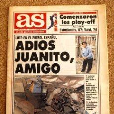 Coleccionismo deportivo: DIARIO AS - Nº 7790 - 3 DE ABRIL 1992, 92 - LUTO EN EL FUTBOL ESPAÑOL - ADIOS JUANITO, AMIGO - . Lote 48490419
