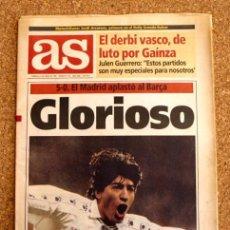 Coleccionismo deportivo: DIARIO AS - 8 DE ENERO 1995, 95 - Nº 8790 - GLORIOSO - REAL MADRID 5-O BARÇA. Lote 48498702