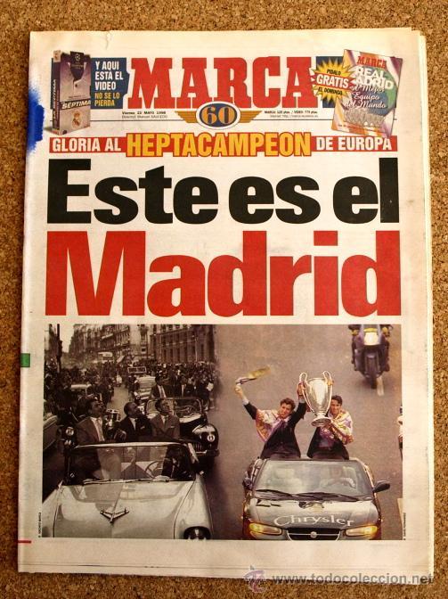 DIARIO MARCA - 22 DE MAYO 1998, 98 - HEPTACAMPEON REAL MADRID - (Coleccionismo Deportivo - Revistas y Periódicos - Marca)
