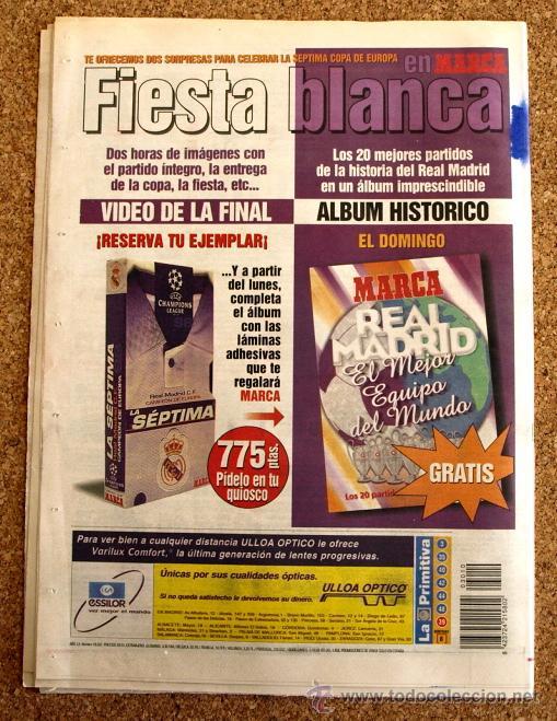 Coleccionismo deportivo: DIARIO MARCA - 22 DE MAYO 1998, 98 - HEPTACAMPEON REAL MADRID - - Foto 2 - 48508360