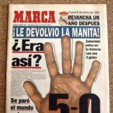 Coleccionismo deportivo: DIARIO MARCA - 8 DE ENERO 1995, 95 - REVANCHA UN AÑO DESPUES - REAL MADRID 5-0 BARÇA. Lote 48508569