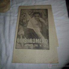 Coleccionismo deportivo: LUIS ROMERO.EL REY DEL K.O..40 DIAS,40 ASES,40 BIOGRAFIAS.BOXEO.MARCA1-8-1963. Lote 48700506