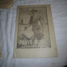 Coleccionismo deportivo: PAAVO NURMI.LA ESFINGE MUDA.40 DIAS,40 ASES,40 BIOGRAFIAS.ATLETISMO.MARCA 6-9-1963. Lote 48701696