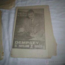 Coleccionismo deportivo: DEMPSEY.EL MARTILLADOR DE MANASSA.40 DIAS,40 ASES,40 BIOGRAFIAS.BOXEO.MARCA 24-8-1963. Lote 48701786