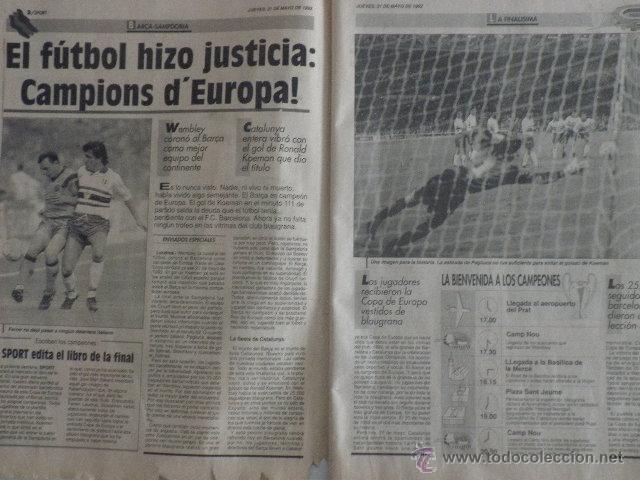 Coleccionismo deportivo: Diario Sport - nº 4496 - 21/5/92 - Final Copa Europa - Barça · Sampdoria - Wembley - 1ª Edición ! - Foto 3 - 49289201