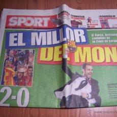 Coleccionismo deportivo: SPORT Nº 10659 JUEVES 28 MAYO DEL 2009 (EL MILLOR DEL MON) EL BARÇA, BRILLANTE CAMPEÓN DE EUROPA. Lote 49315257
