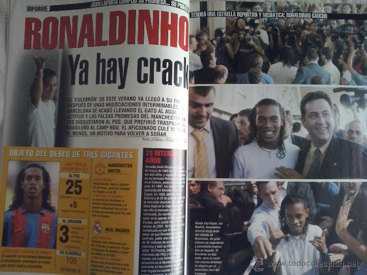 Coleccionismo deportivo: DON BALON Nº 1449 - 2003 - RONALDINHO NUEVO JUGADOR DEL BARCELONA - SIMEONE VUELVE AL ATLETICO - Foto 4 - 49429894