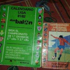 Coleccionismo deportivo: CALENDARIO LIGA 81/82. DON BALON.. Lote 63110615