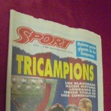 Coleccionismo deportivo: DIARIO SPORT. Nº 4889. 21 DE JUNIO DEL 1993. BARÇA, TRICAMPIO !. CON POSTER.. Lote 50653766