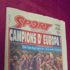Coleccionismo deportivo: DIARIO SPORT. Nº 4496. 21 DE MAYO 1992. UN GOLAZO DE KOEMAN DIO EL TITULO AL BARÇA. CON POSTER.. Lote 50654038