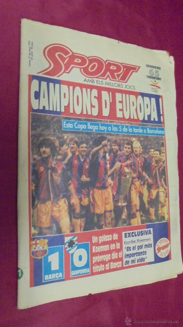 DIARIO SPORT. Nº 4496. 21 DE MAYO 1992. BARÇA, 92: CAMPIO D'EUROPA. CON POSTER. (Coleccionismo Deportivo - Revistas y Periódicos - Sport)