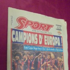 Coleccionismo deportivo: DIARIO SPORT. Nº 4496. 21 DE MAYO 1992. BARÇA, 92: CAMPIO D'EUROPA. CON POSTER.. Lote 50654195