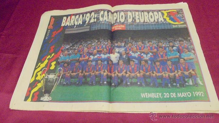 Coleccionismo deportivo: DIARIO SPORT. Nº 4496. 21 DE MAYO 1992. BARÇA, 92: CAMPIO D'EUROPA. CON POSTER. - Foto 2 - 50654195