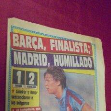 Coleccionismo deportivo: DIARIO SPORT. Nº 3396. 20 ABRIL 1989. BARÇA, FINALISTA; MADRID, HUMILLADO.. Lote 50654373