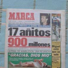 Coleccionismo deportivo: MARCA 7 DE JULIO DE 1995. FINAL DE ROLAND GARROS Y FICHAJE ETXEBERRIA ATHLETIC. . Lote 50944979